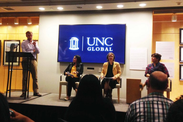 Laura Villa Torres (far left) and Dr. Hannah Gill (center) spoke about collecting narratives and disseminating stories on NewRoots.lib.unc.edu